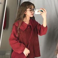 初春小个子俏皮两件套洋气女装长袖衬衫+V领背心针织马甲网红套装