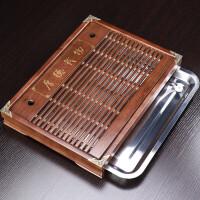 唐丰实木茶盘玻璃茶具小套组家用蓄水茶台透明冲茶器过滤日式简约