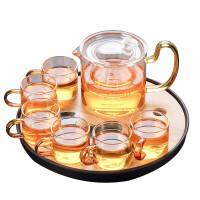 唐丰家用玻璃茶具套装实木侧把泡茶壶金箔公道杯黑檀茶道六君子