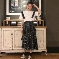 三木子快时尚女装~韩版新款短袖T恤+松紧腰波点半身裙套装
