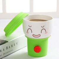 车载咖啡杯带盖可爱随手创意表情杯子带盖陶瓷马克水杯潮流牛奶杯