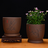 古典紫砂兰花盆多肉盆室内景盆粗陶榕树大创意紫砂陶瓷盆家用