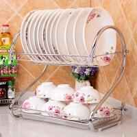 家用碗盘沥水架收纳碗柜碗碟套装双层厨房用品置物架晾餐具盘子架 2字双层碗碟架