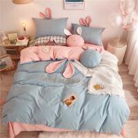 春夏小清新可爱兔耳朵四件套少女心网红床品1.8黄色 晚安兔粉蓝 纯棉款