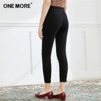 ONE MORE2019秋新款高腰小脚裤黑色紧身九分牛仔裤女
