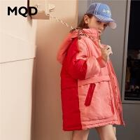 MQD童装女童棉衣2019冬季新款儿童连帽中长款撞色加厚保暖外套潮