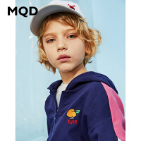 MQD童装男童连帽开衫卫衣20春新款儿童圆领拉链运动衫韩版潮上衣