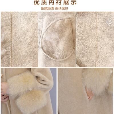 皮毛一体外套女羊剪绒大衣中长款2018新款两面穿皮草冬季加厚