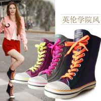 雨靴雨鞋韩版女式水鞋系带女士帆布鞋款中筒系带雨鞋套鞋
