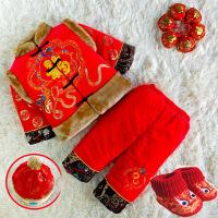 男童唐装冬季加厚棉衣宝宝1-3岁衣服儿童喜庆周岁新年服生日礼服2 金龙腾飞(有帽子鞋子) 80码建议3-10个月