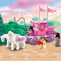 快乐小鲁班 粉色梦想梦幻马车 女孩积木塑料玩具抖音
