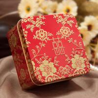 结婚喜糖盒子创意中式婚礼用品红色中国风喜烟马口铁婚庆个性糖盒 如图 小号 6.2*6.2*4.2cm