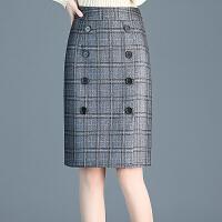 格子毛呢半身裙包裙2018年冬季新款显瘦韩版包臀裙短裙一步裙中裙