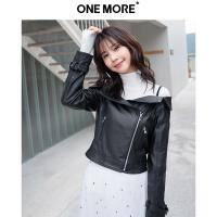 【2件3折】ONE MORE2018春装新款pu皮衣女士短款外套一字领夹克露