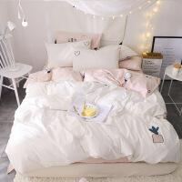 水洗全棉四件套1.8床上用品纯棉少女心床单被套学生宿舍三件套定制