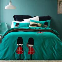 英伦风儿童床上用品三件套1.2m床单男孩 1.5米男童床品四件套纯棉定制 卫士