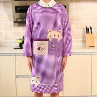 围裙韩版时尚厨房防水防油长袖反穿做饭工作带袖围腰男罩衣女