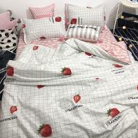 简约ins网红草莓床单四件套被套1.8米床上用品学生单人宿舍三件套