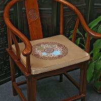 【品质推荐】太师椅靠垫新中式居家木椅海绵坐垫抱枕红木太师椅圈椅织锦缎实木椅座垫沙发靠垫 镶边款 圆镜