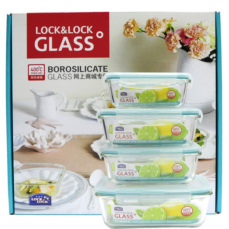 LOCK&LOCK乐扣 格拉斯耐热玻璃保鲜盒4件套LLG445S911