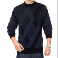 2016 秋冬装新款男装中年 气质错落毛衣男式圆领长袖质感针织衫
