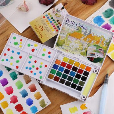 樱花24色透明固体水彩颜料套装初学固体写生水彩