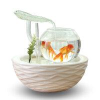 鱼缸客厅小型桌面迷你懒人金鱼缸超白玻璃陶瓷创意水族箱生态造景