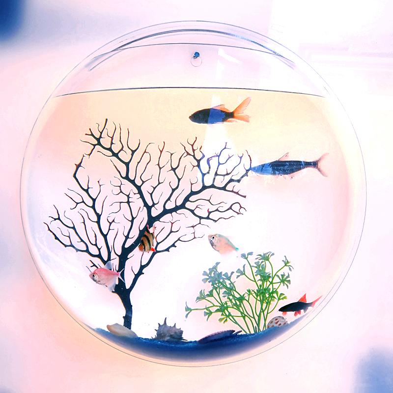 【品牌热卖】草缸壁挂鱼缸花瓶挂式花盆墙上装饰立体亚克力墙贴背景墙家居饰品