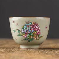 【优选】汝窑手绘品茗杯功夫单个茶杯开片粉彩景德镇纯手工陶瓷主人杯设计