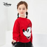 【3件3折券后价:76元】迪士尼童装女童冬季新款针织套头毛衣儿童保暖上衣潮