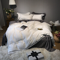 60支双面天丝四件套纯色裸睡丝滑夏季床单简约被套床上用品1.8米