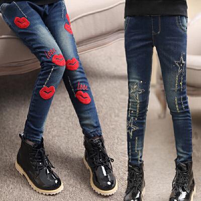 童装女童秋装牛仔裤2018新款儿童洋气大童裤子12岁15女外穿加绒冬