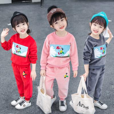 2019秋季新款儿童洋气中小童韩版运动秋季童装男女童秋装套装