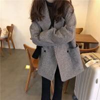 春季韩版女装宽松复古气质西装毛呢外套中长款显瘦千鸟格休闲大衣