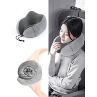 旅行记忆棉脖子U型枕头便携飞机坐车充气枕u形颈椎护颈枕