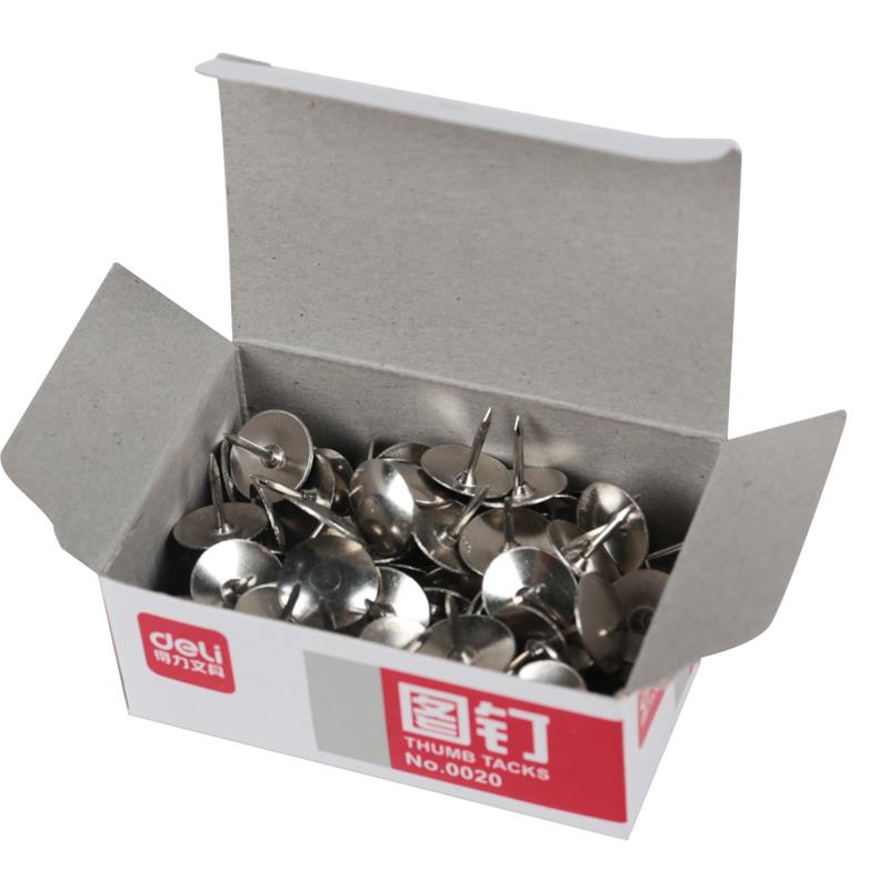 得力(deli) 0020 图钉 镀镍 金属大头钉 图画钉 10盒装 当当自营
