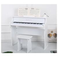 儿童钢琴木质61键幼师练习启蒙玩具宝宝男女周岁礼物电子琴 高雅白 专一功能