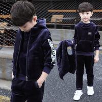 儿童装男童冬装新款中大童男孩加厚加绒三件套装中大童套潮