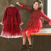 女童秋冬装连衣裙洋气红色公主加绒大童新年儿童裙子
