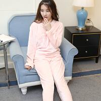 冬季睡衣女珊瑚绒加厚套装韩版家居服法兰绒女士保暖睡衣