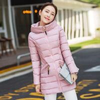 中长款棉衣女新款韩版时尚修身加厚羽绒连帽保暖棉袄 粉色 M