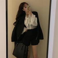 小香风套装女韩版蝴蝶结打底衬衣西装开衫外套高腰百褶裙三件套潮