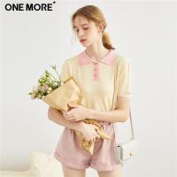 【裸价直降】ONE MORE2019夏季新款POLO领个性撞色针织T恤短袖女装上衣针织衫