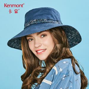 卡蒙夏季大檐帽可折叠太阳帽纯色棉麻行山防晒帽女海边旅游遮阳帽 3640