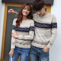 加绒毛衣外套情侣款韩版潮流青少年学生针织衫圆领修身男女装线衣