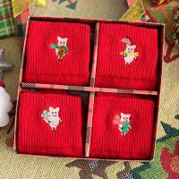 礼盒大红色袜子女男士中筒袜纯棉猪年本命年潮踩小人袜圣诞袜秋冬 本命年大红袜4双礼盒装 均码