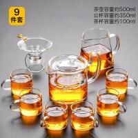 唐丰透明玻璃茶具套装家用日式镶银泡茶器泡红茶小套茶盘办公室用