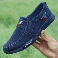 夏季帆布鞋男士老北京布鞋休闲鞋一脚蹬低帮软底透气懒人鞋子