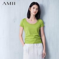 Amii[极简主义]夏秋新品纯色圆领T恤短袖大码女装打底衫11620332