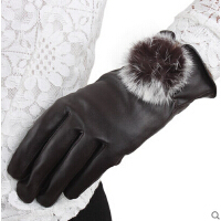 时尚手套秋 防寒手套女士手套可爱韩版兔毛毛球